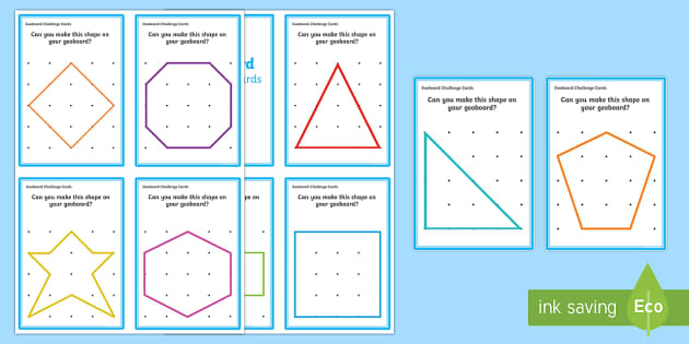 Geoboard 2D Shapes Challenge Cards - shape, space, measure, 2D, flat, board, peg, elastic bands