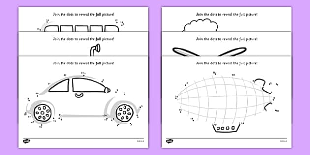 Transport Dot to Dot Activity Sheet Pack - activity, game, fun