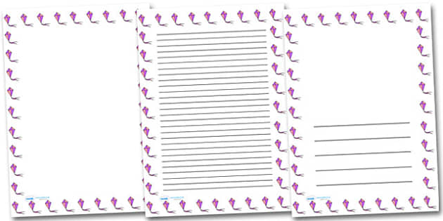 Kite Portrait Page Borders- Portrait Page Borders - Page border, border, writing template, writing aid, writing frame, a4 border, template, templates, landscape