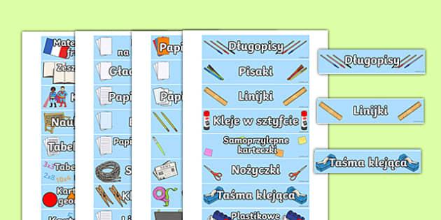 Etykiety Wyposażenie sali lekcyjnej po polsku