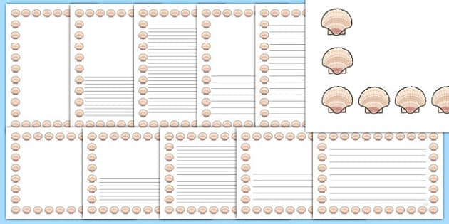 Sea Shell Page Borders - writing templates, writing border, sea