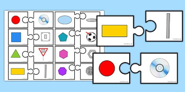 2D Shapes in the Environment Matching Cards - 2d shapes, environment, matching cards