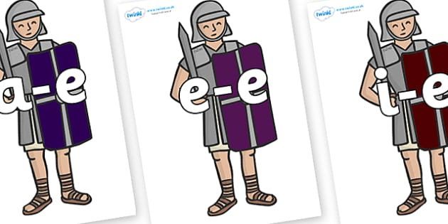 Split Digraphs on Roman Soldiers - Modifying E, letters, modify, Phase 5, Phase five, alternative spellings for phonemes, DfES letters and Sounds