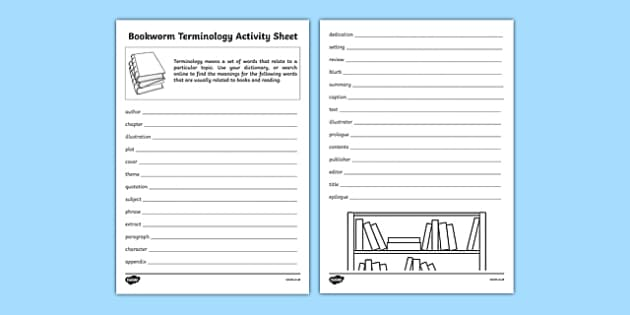 Bookworm Terminology Activity Sheet, worksheet