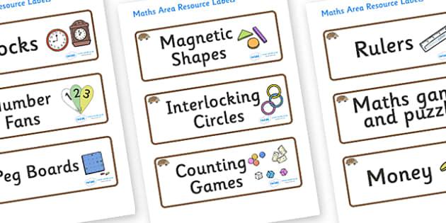 Hedgehog Themed Editable Maths Area Resource Labels - Themed maths resource labels, maths area resources, Label template, Resource Label, Name Labels, Editable Labels, Drawer Labels, KS1 Labels, Foundation Labels, Foundation Stage Labels, Teaching La