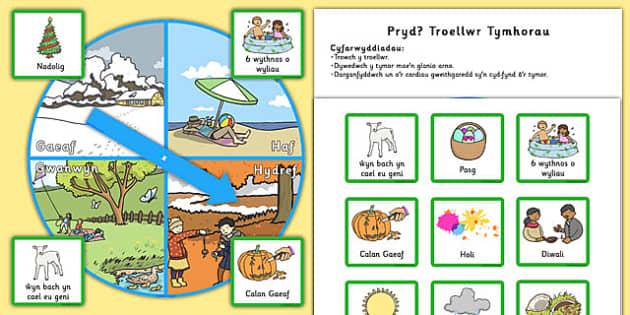 Pryd? Troellwr Tymhorau When Season Spinner Cymraeg - welsh, cymraeg, seasons, weather, visual aids, spinners