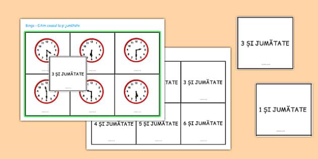 Ceasul la jumătate de oră - Bingo - ceas, Bingo, oră, unitate de măsură, jumătate de oră, joc, romanian, materiale, materiale didactice, română, romana, material, material didactic