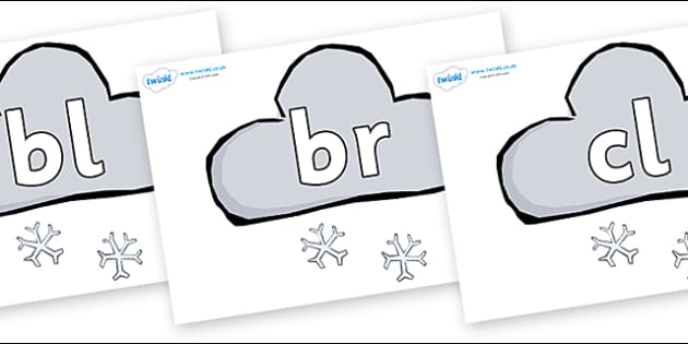 Initial Letter Blends on Weather Symbols (Snow) - Initial Letters, initial letter, letter blend, letter blends, consonant, consonants, digraph, trigraph, literacy, alphabet, letters, foundation stage literacy