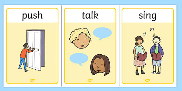 Verb Action Posters Present Tense - verbs, action, tense, poster
