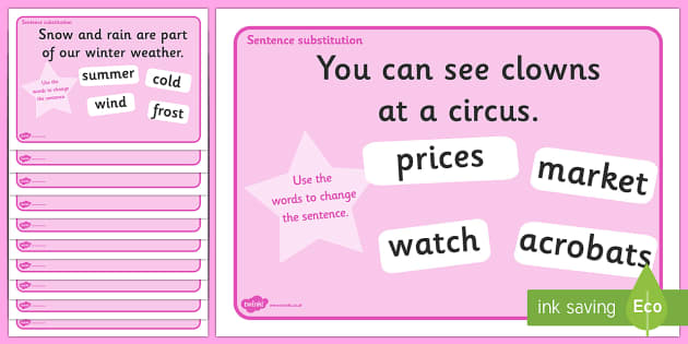 Phase 5 Sentence Substitution Activity Mats - phase 5, substitution