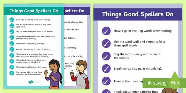 Things Good Spellers Do Display Posters - spelling poster, spelling display, spelling strategies, good spelling, spelling, display