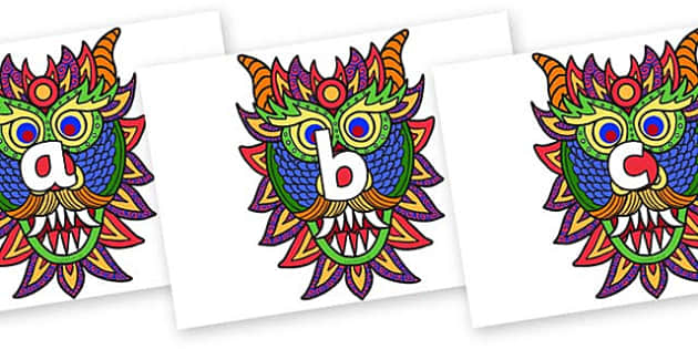 Phase 2 Phonemes on Chinese New Year Dragon Mask - Phonemes, phoneme, Phase 2, Phase two, Foundation, Literacy, Letters and Sounds, DfES, display