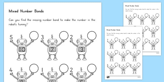 Mixed Number Bonds to 10 on Robots Worksheet USA - usa, america, mixed, number bonds, 10, robots