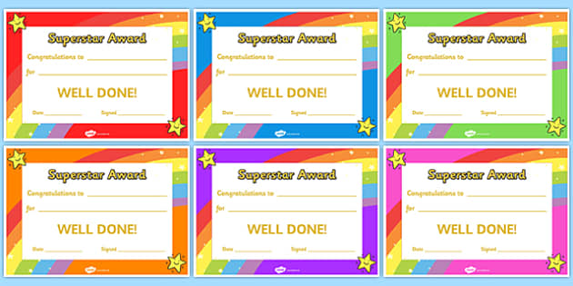 Super Star Award Certificates - super star award certificates, certificates, award, well done, reward, medal, rewards, school, general, certificate, achievement