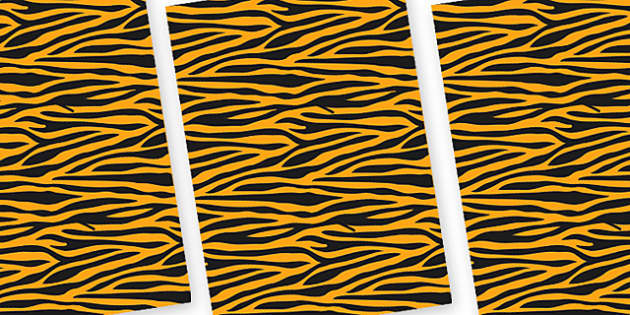 Tiger Themed Pattern A4 Sheets - safari, safari animal themed sheets, tiger pattern sheets, tiger sheets, tiger a4 sheets, animal patterns, tiger coat