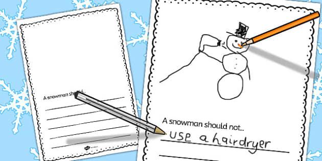 Snowman Should Writing Frame - snowman, writing frame, olaf