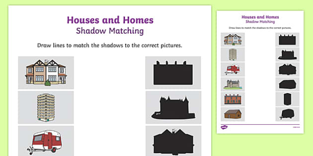 Houses and Homes Shadow Matching Activity Sheet, worksheet