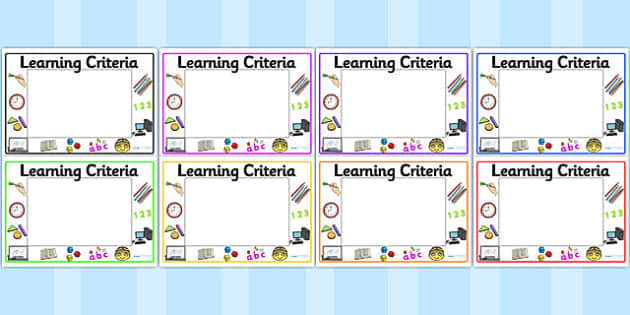 Editable Learning Criteria Display Signs - Learning criteria, criteria. Editable sign, display, poster