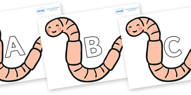 A-Z Alphabet on Earthworms - A-Z, A4, display, Alphabet frieze, Display letters, Letter posters, A-Z letters, Alphabet flashcards