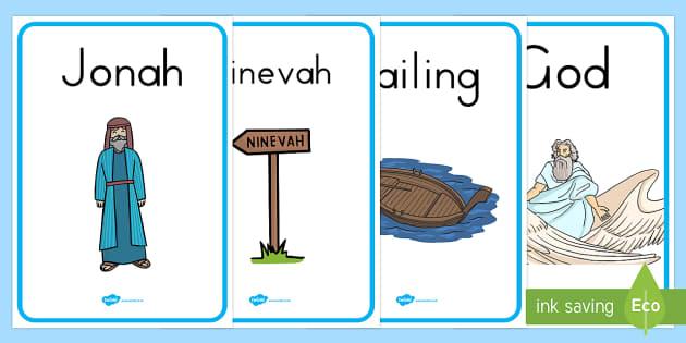 Jonah and the Big Fish Display Posters - religious stories, Jonah, Jonah display banner, bible story display poster, Judaism