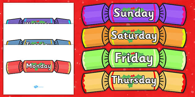 Days of the Week on Crackers - Christmas, xmas, cracker, Weeks poster, Months display, display, poster, frieze, Days of the week, tree, advent, nativity, santa, father christmas, Jesus, tree, stocking, present, activity, cracker, angel, snowman, adve
