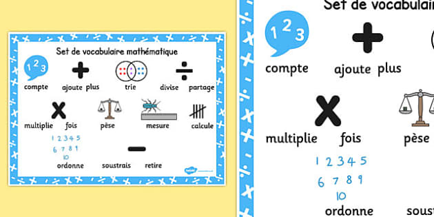 Set de vocabulaire mathématique Numeracy Instructions Word Mat French - french, numeracy, word mat, instructions