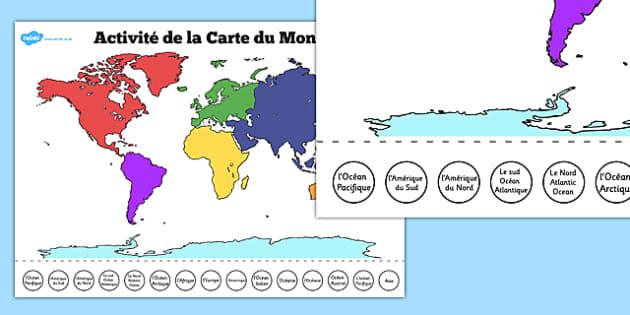 Activité de la Carte du Monde - french, world, map, labelling, activity