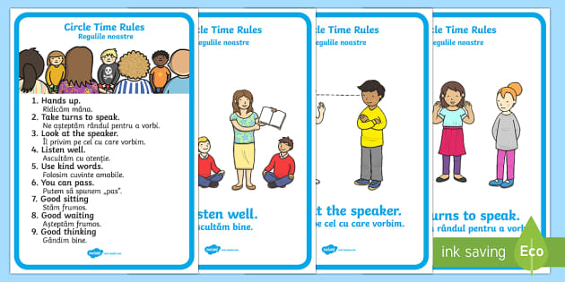 Circle Time Rules Display Posters English/Romanian - Circle Time Rules Display Posters - Circle time, rules, rule, SEN, behaviour management, PSHE, SEAL,