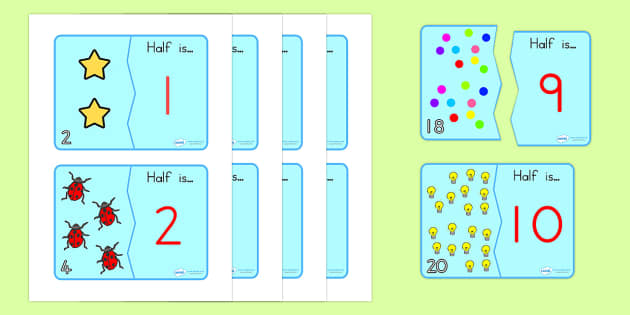 Halving Matching Jigsaw Cards - halving, matching, maths, games