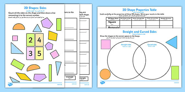 Properties of 2D Shapes Activity Sheets Arabic Translation - arabic, 2d, shapes, activity, maths, worksheet