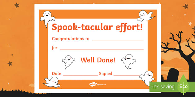 Spook-tacular Effort Halloween Certificate