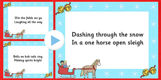 Jingle Bells Christmas Carol Lyrics PowerPoint - jingle bells, christmas, christmas carol, powerpoint, lyrics, lyrics powerpoint, christmas songs