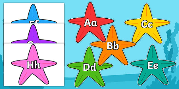 A-Z Alphabet on Starfish - Fish, Under the sea, Alphabet frieze, Display letters, Letter posters, A-Z letters, Alphabet flashcards, sea, seaside, display, posters, water, tide, fish, sea creatures, shark, whale, marine, dolphin, starfish, waves, sand