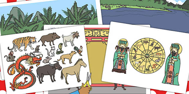 Chinese New Year Story Story Cut Outs - chinese, story, cut outs
