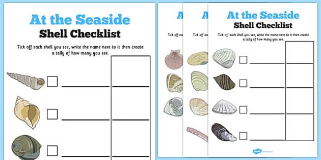 Seashell Hunt Checklist - seashell, hunt, checklist, seaside, activity