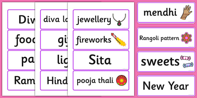 Diwali Topic Word Cards - Word cards, Word Card, flashcard, flashcards, Diwali, religion, hindu, hanoman, rangoli, sita, ravana, pooja thali, rama, lakshmi, golden deer, diva lamp, sweets, new year, mendhi, fireworks, party, food. divali, divalli