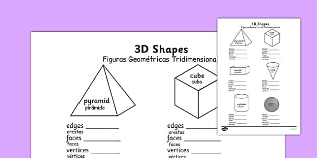 Figuras Geométricas Tridimensionais Worksheets Portuguese Translation - portuguese, 3d shape, properties, worksheets, 3d, shape
