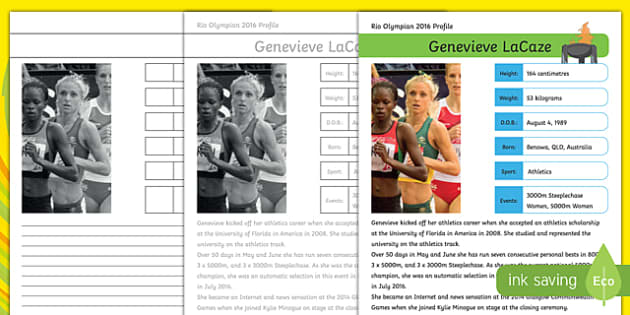 Australian Rio Olympian Genevieve LaCaze Handwriting Practice Activity Sheet-Australia, worksheet