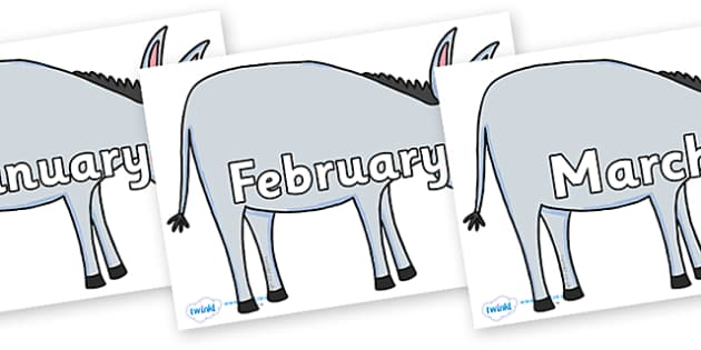Months of the Year on Hullabaloo Donkey to Support Teaching on Farmyard Hullabaloo - Months of the Year, Months poster, Months display, display, poster, frieze, Months, month, January, February, March, April, May, June, July, August, September