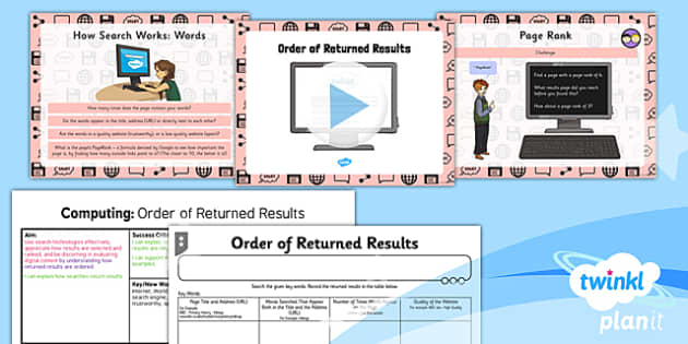PlanIt - Computing Year 3 - Internet Research and Communication Lesson 2: Order of Returned Results Lesson Pack - internet, search, word order, results, rank