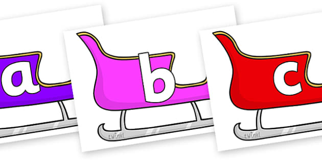 Phoneme Set on Sleighs (Multicolour) - Phoneme set, phonemes, phoneme, Letters and Sounds, DfES, display, Phase 1, Phase 2, Phase 3, Phase 5, Foundation, Literacy