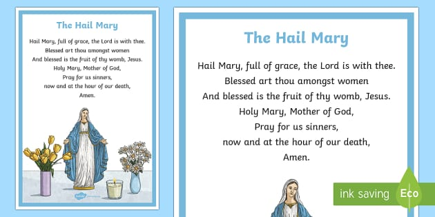 The Hail Mary A4 Display Poster - CfE Catholic Christianity, prayers, Hail Mary,Scottish