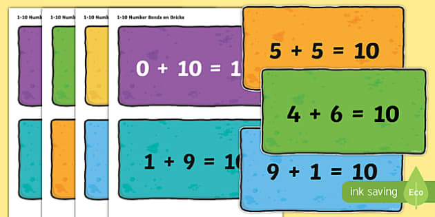 Number Bonds 1-10 on Bricks - number bonds, 1-10, bricks, number, maths