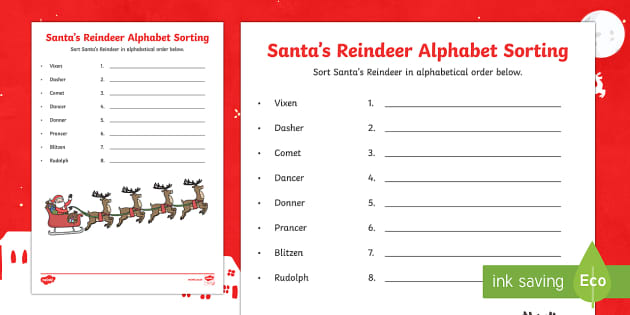 Santa's Reindeer Alphabet Ordering Activity Sheet