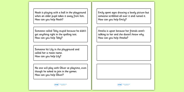 How Can You Help? Scenario Discussion Cards -  what to do, bully, bullying, being bullied, behaviour, good behaviour, friendship, step up, discussion cards, bullied, help