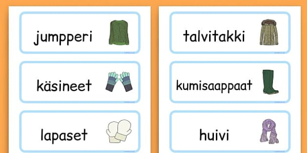 Winter Clothes Word Cards - winter clothes, word cards, winter, clothes - Finnish