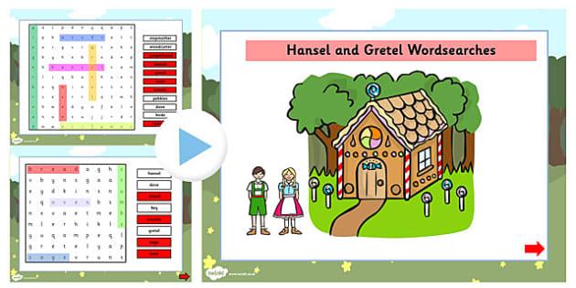 Hansel and Gretel Interactive Wordsearch - wordsearch, hansel