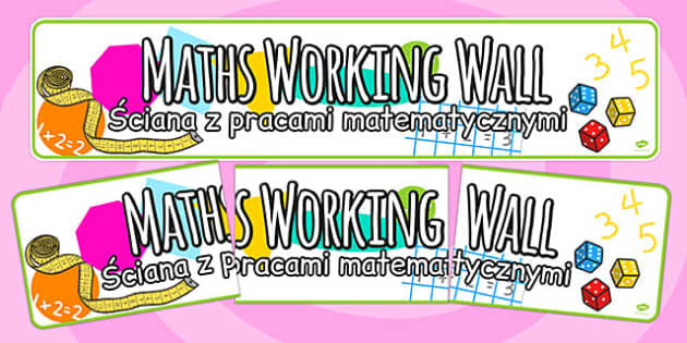 Maths Working Wall Display Banner Polish Translation - banner, title, heading, polish, information, KS1, Key stage 1, maths