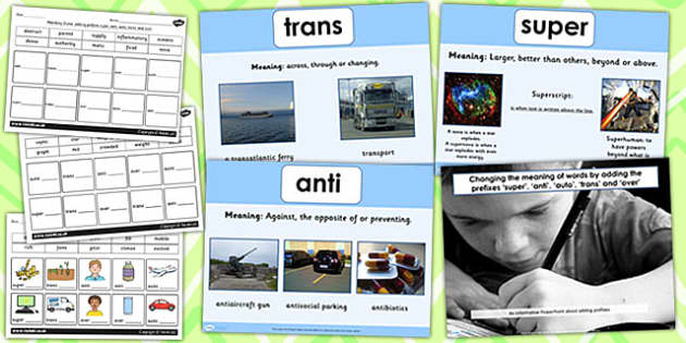 Adding Prefixes super, anti, auto, trans and over SPaG Lesson Teaching Pack PowerPoint
