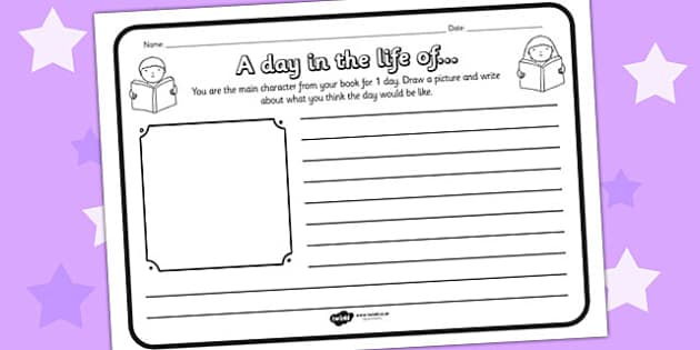 A Day In The Life Comprehension Worksheet - a day in the life, comprehension, comprehension worksheet, character, discussion prompt, reading, discussions